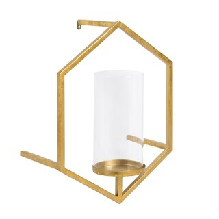 Curran Hexagon Metal Sconce Wall Candle Holder with Glass Pillar