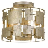 Crystorama Bronson Collection 4-light Oxidized Silver Flush Mount