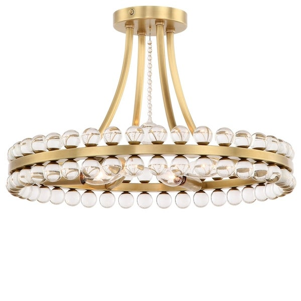 Crystorama Clover Collection 4-light Aged Brass Flush Mount