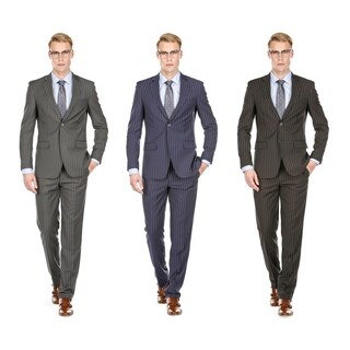 Braveman Men's Slim Fit Bold Stripe Suits