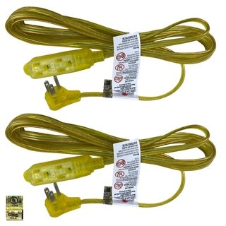 Royal Designs Clear Gold 8 Foot Indoor/Outdoor Extension Cord, Set of 2