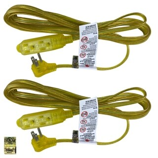 Royal Designs Clear Gold 6 Foot Indoor/Outdoor Extension Cord, Set of 2