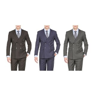 Braveman Men's Slim Fit Bold Stripe Double Breasted Suits