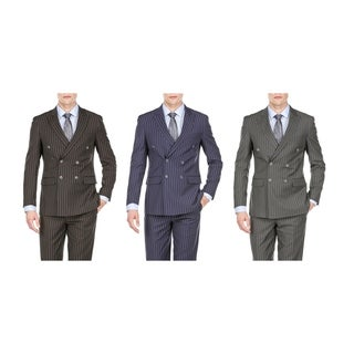 Braveman Men's Slim Fit Bold Stripe Double Breasted Suits (More options available)