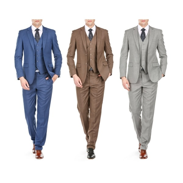 Braveman Men's Slim Fit Sharkskin 3PC Suits