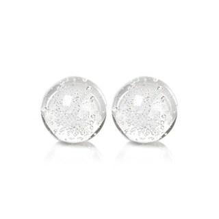 "3.5"" Crystal Decorative Ball, Bubbles Design (Set of 2)"