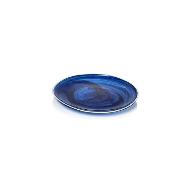 """Monte Carlo"" 10.25"" Diameter Glass Plate, Indigo Alabaster (Set of 6)"