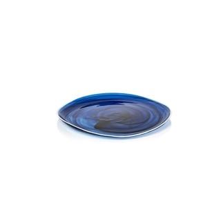 """Monte Carlo"" 11.5"" Diameter Glass Plates, Indigo Alabaster (Set of 6)"