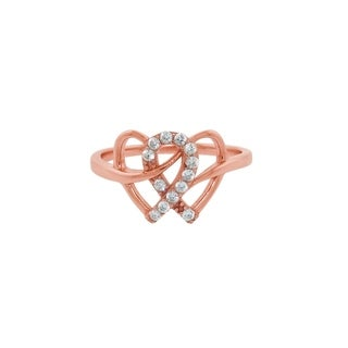 Eternally Haute 14k Rose Gold Plated Sterling Silver Interlocking Hearts Ring (2 options available)