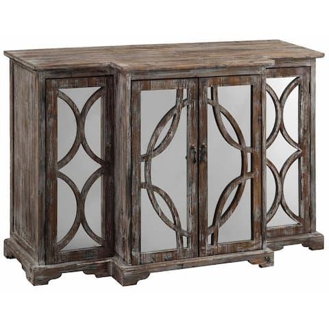 Galloway Dark Brown Rustic Wood and Mirror 4-door Sideboard