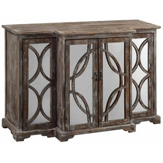 Galloway Dark Brown Rustic Wood and Mirror 4-door Sideboard