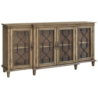 Berkshire Brown Pinewood and Glass 4-door Sideboard