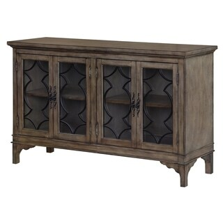 Wyndham Brown Pinewood and Glass 4-door Sideboard
