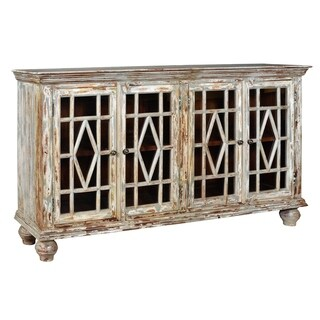Bengal Manor Distressed Grey Mango Wood 4-door Sideboard