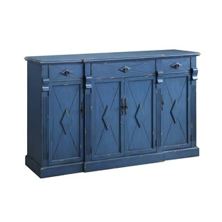 Everett Royal Blue MDF 3-drawer 4-door Sideboard