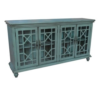 Mendenhall Textured Teal MDF Glass 4-door Sideboard
