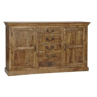 Bengal Manor Natural Mango Wood 5-drawer 2-door Sideboard