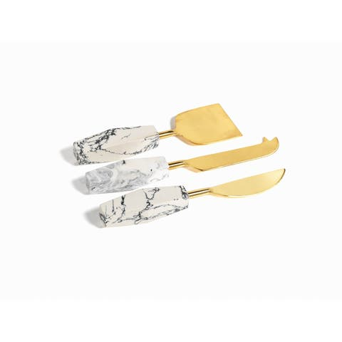 Stonedust Cheese Knife, Brass Gold finish (Set of 3)