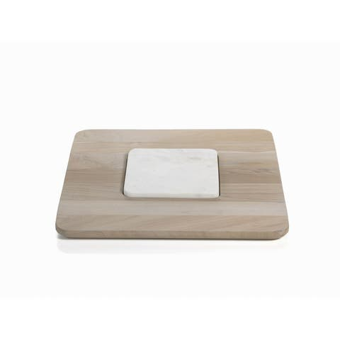 """Viceroy"" 14"" Square Teak and Marble Cheese Platter"