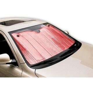 Zone Tech Shiny Red Aluminum Foldable Sun Shade - Premium Quality Metallic Reflective Reversible Car Sun Shade