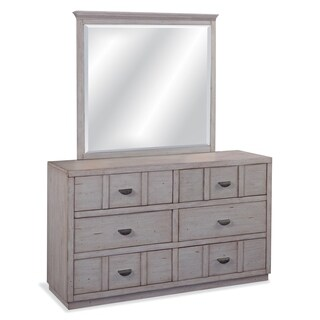 Parker Driftwood 6-Drawer Double Dresser with Optional Mirror
