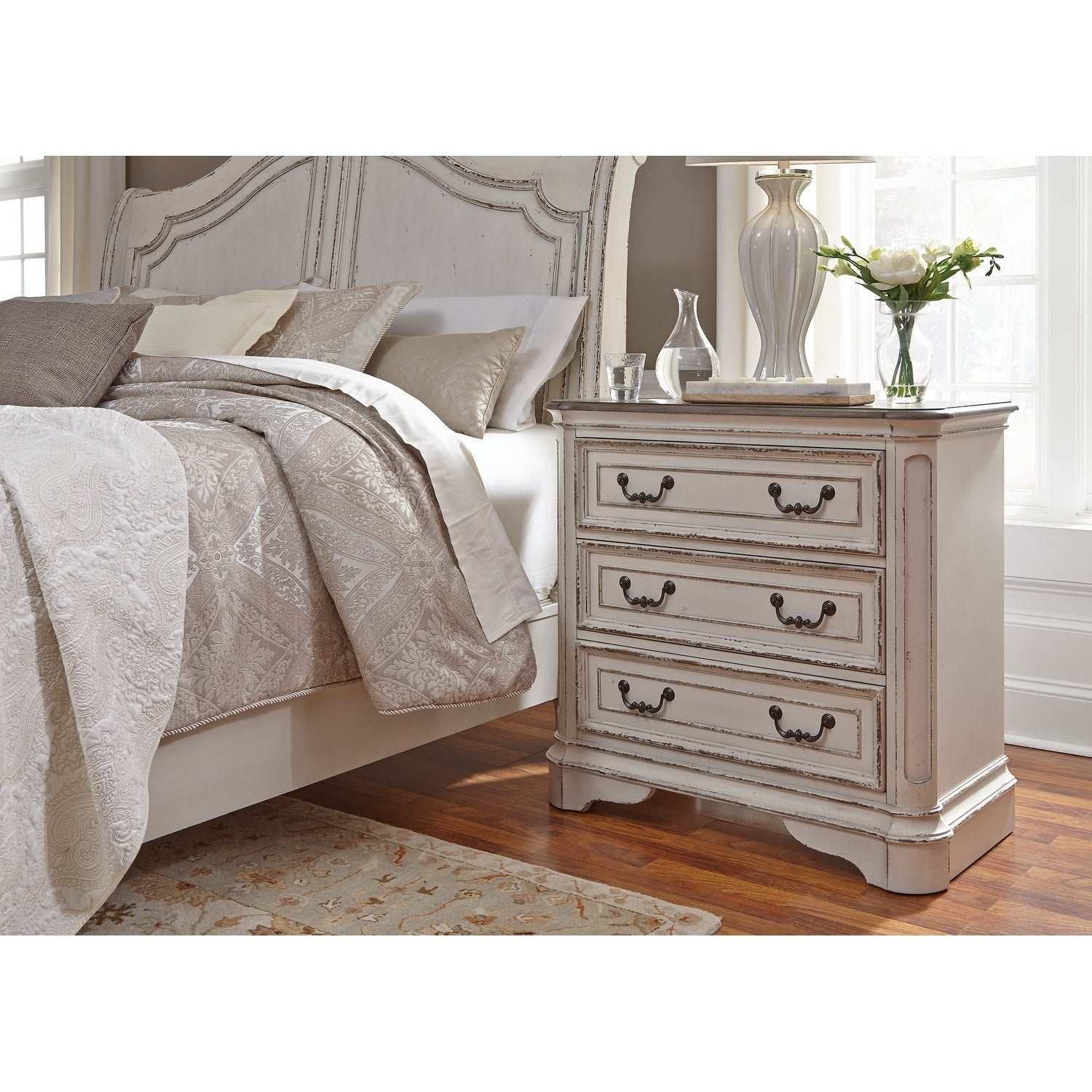 Magnolia Manor Antique White 3 Drawer Bedside Chest