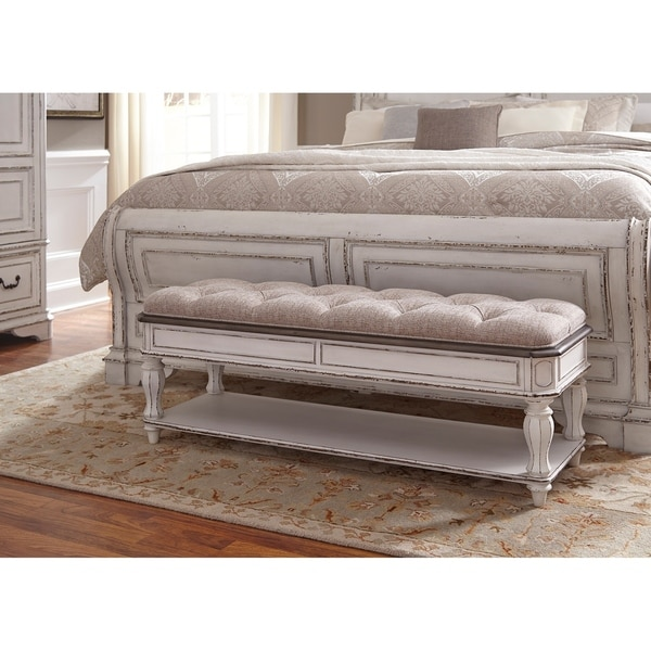 Shop Magnolia Manor Antique White Bed Bench On Sale