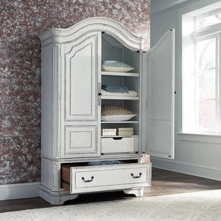 Shop Magnolia Manor Antique White Armoire On Sale Free