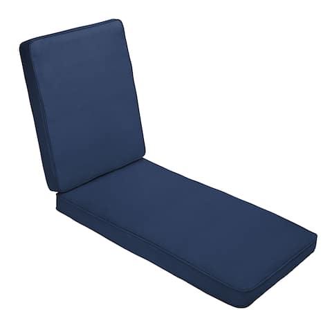 Sunbrella Canvas Navy Blue Indoor/ Outdoor Hinged Cushion - Corded