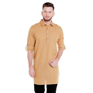 In-Sattva Men's Pullover Pathani Rollup Sleeve Kurta Tunic with Shoulder Strap