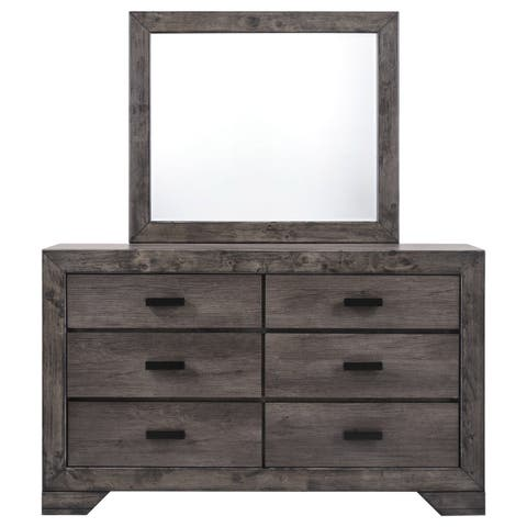 Picket House Greyson Grey Wood 6-drawer Dresser and Mirror Set