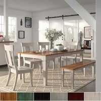 Elena Antique White Extendable Rectangular Dining Set with Panel Back Chairs by iNSPIRE Q Classic