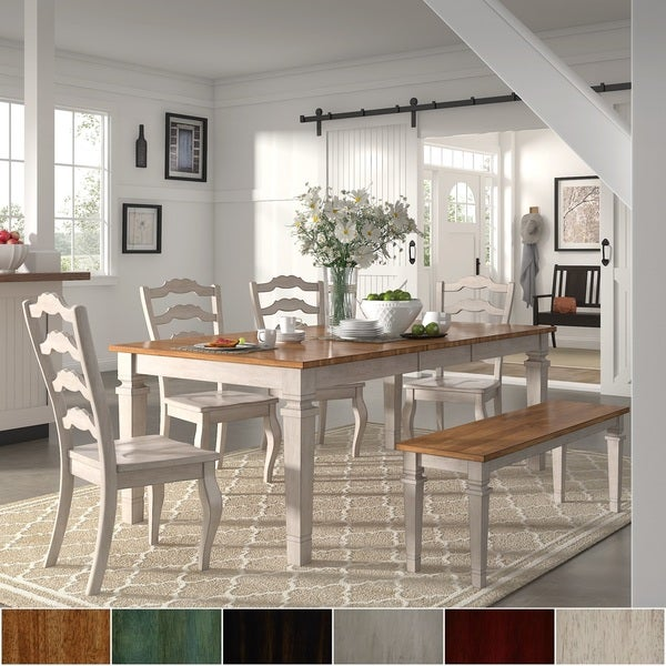Elena Antique White Extendable Rectangular Dining Set With French Ladder  Back Chairs By INSPIRE Q Classic