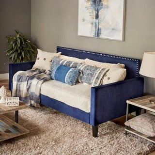 Handy Living Navy Blue Velvet Upholstered Twin-size Square Back Daybed