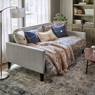 Handy Living Fawn Grey Velvet Upholstered Twin-size Rounded Back Daybed