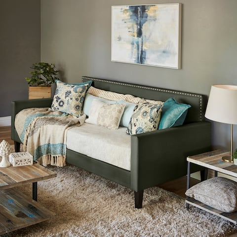 Handy Living Grey Upholstered Twin-size Square Back Daybed