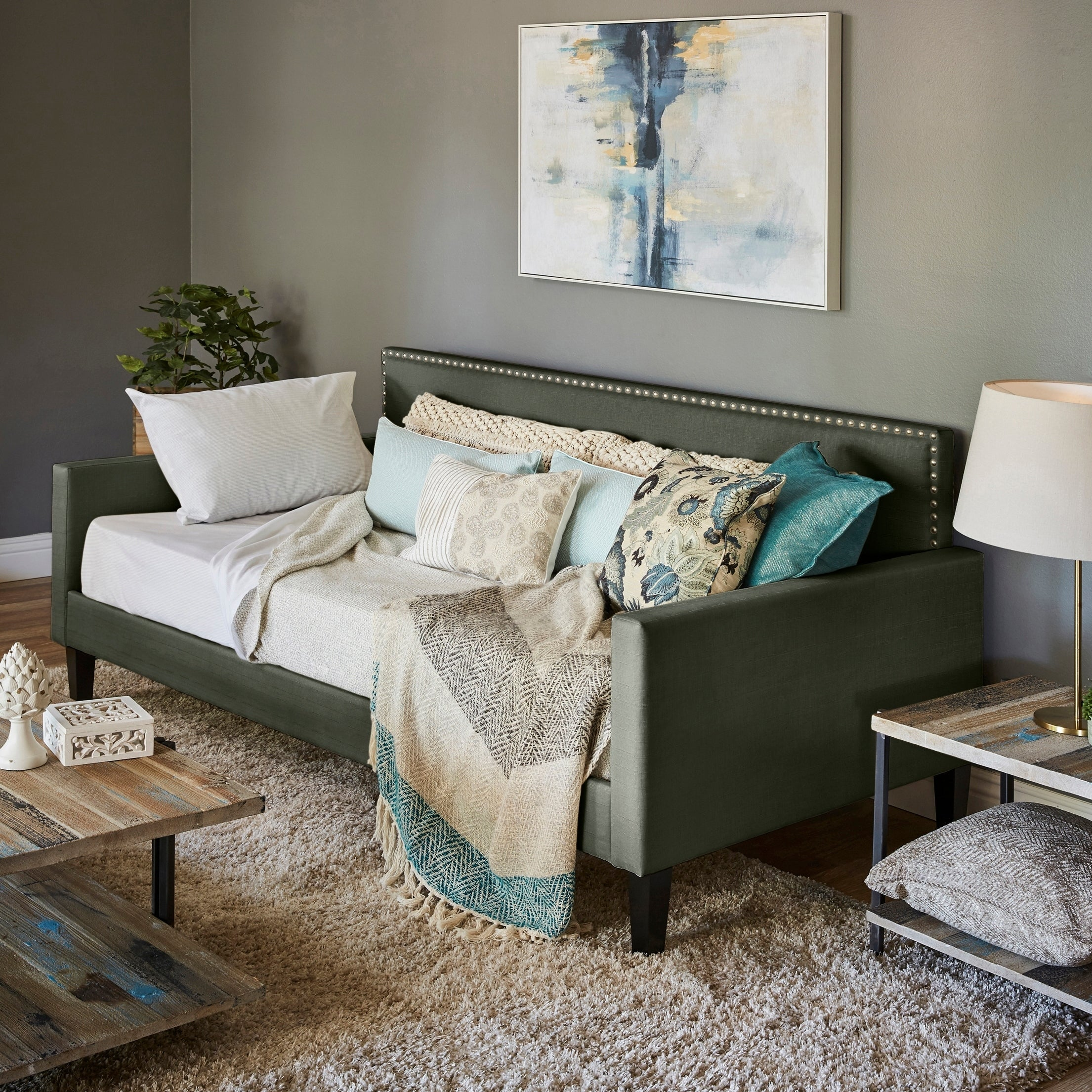 - Shop Handy Living Grey Upholstered Twin-size Square Back Daybed - On Sale -  Overstock - 20716867