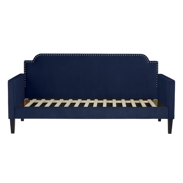 Awesome Shop Handy Living Navy Blue Velvet Upholstered Twin Size Pabps2019 Chair Design Images Pabps2019Com