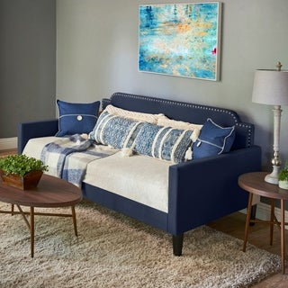 Handy Living Navy Blue Velvet Upholstered Twin-size Rounded Back Daybed