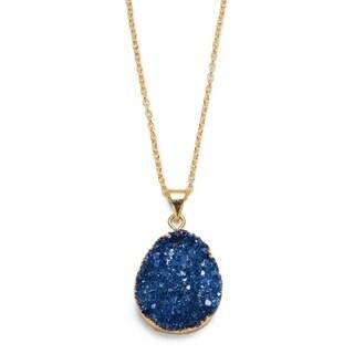 Handmade Rishima Druzy Drop Necklace - Dark Blue (India)