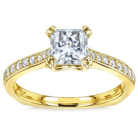 Annello by Kobelli 14k Gold 1 1/10ct TGW Princess Moissanite and Diamond Square Shank Trellis Engagement Ring (FG/VS, GH/I)