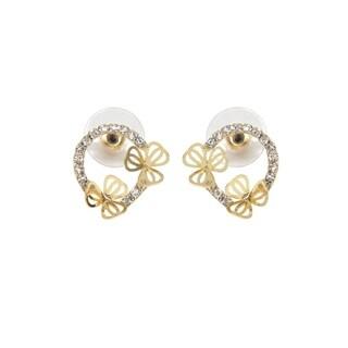 Eternally Haute Pave Butterfly Circle Earrings