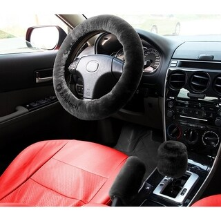 Zone Tech Non-slip Car Decoration Steering Wheel Handbrake Gear Shift Plush Cover  Auto Comfortable Thermal (Black)