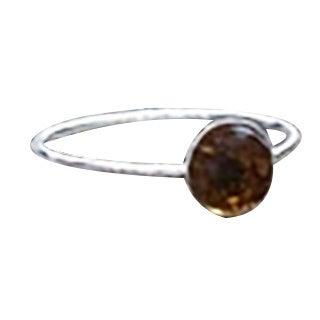Handmade Recycled Vintage Bleach Jug Amber and Sterling Silver Stacking Ring (United States)