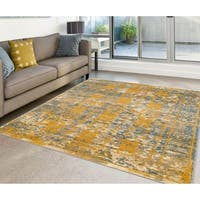 "Power-Loomed Santaria Blue Gold Abstract Vintage Rug - 8'9"" x 11'9"""