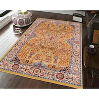 Power-Loomed Santaria Gold Ivory Traditional Rug - 7'9 x 9'9