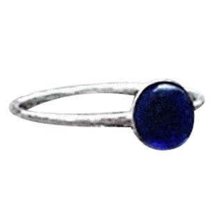 Handmade Recycled Vintage Cobalt Face Cream Jar and Sterling Silver Stacking Ring (United States)