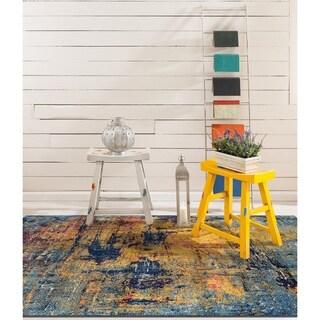 Wilton-Woven Nina Orange Blue Abstract Rug - 7'6 x 9'6