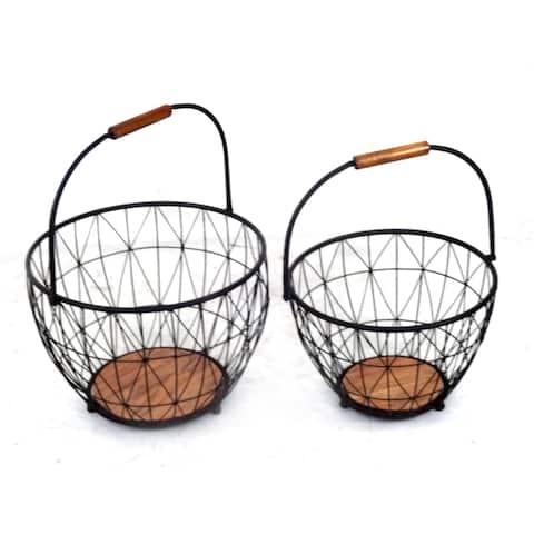 Set of 2 Wood and Metal Basket