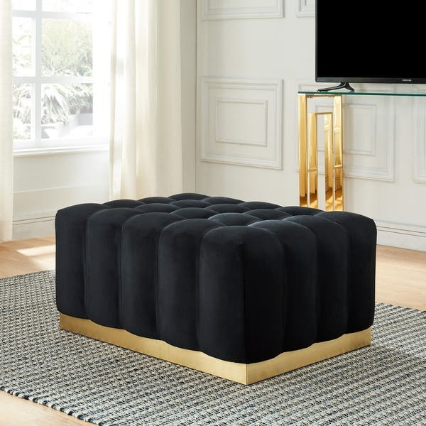 Phenomenal Shop Magnum Ottoman Black Gold Velvet Ottoman With Stainless Bralicious Painted Fabric Chair Ideas Braliciousco